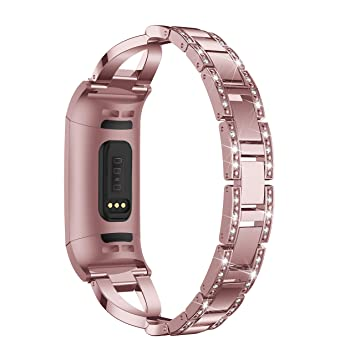 HEYSTOP compatibles Fitbit Charge 3 Correa,Bling Bandas de Metal de Acero Inoxidable de Reemplazo