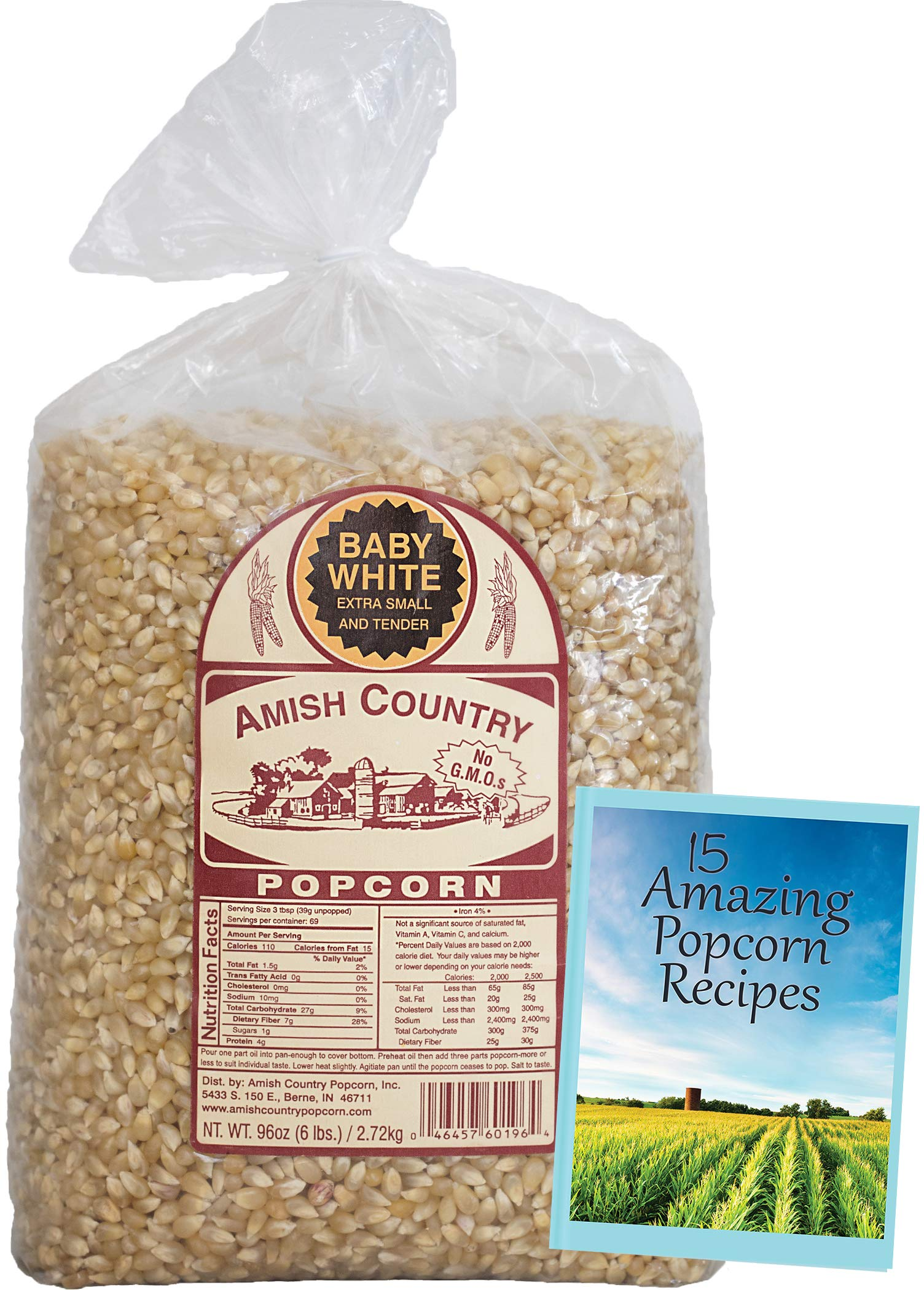 Amish Country Popcorn - Baby White (6 Pound Bag) - Small & Tender Popcorn - Old Fashioned And Delicious with Recipe Guide by Amish Country Popcorn (Image #2)