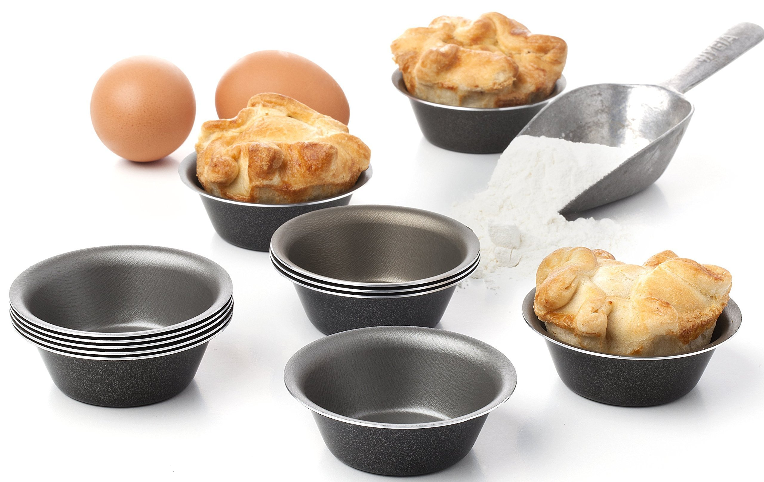 Maxi Nature Pack of 12 Mini Pie Muffin Cupcake Pans egg Tart Bakeware - 3.1 Inch Tins - 12 Molds NonStick Black bakeware