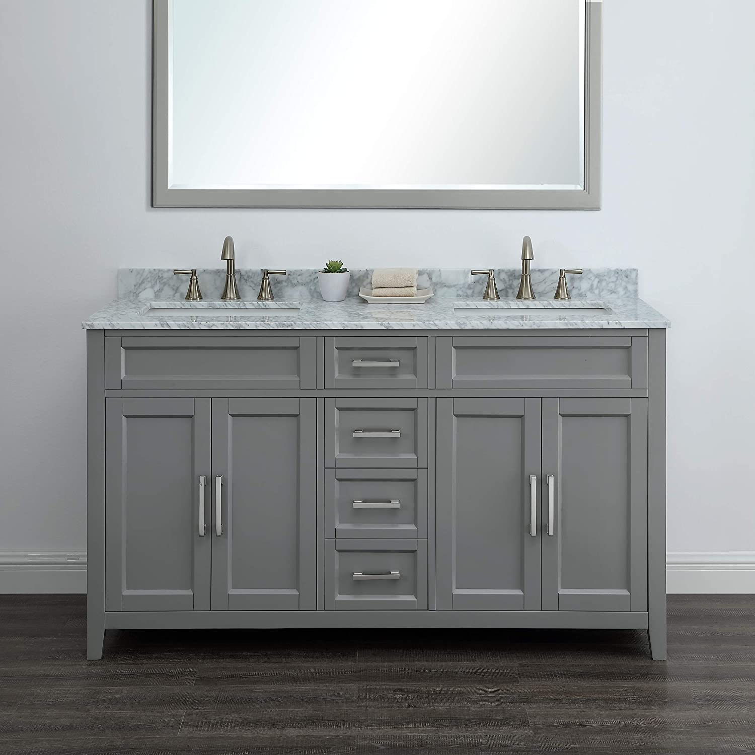 Amazon Com Palmer 60 Gray Bathroom Vanity With Carrara Marble By Mission Hills Furniture Kitchen Dining