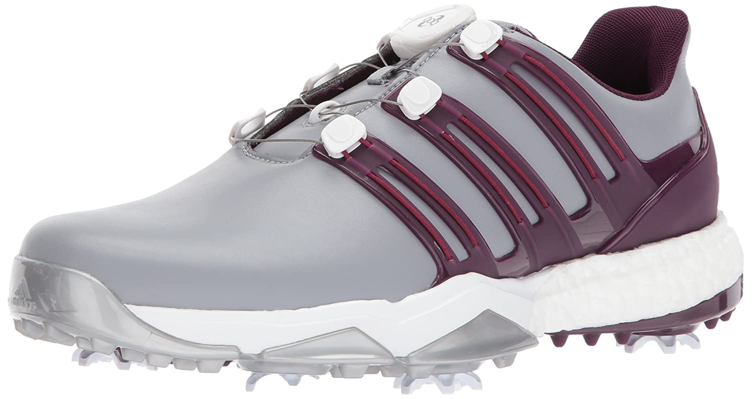 adidas Powerband BOA Boost Golf Shoes B01NCNAKZ5 9.5 D(M) US|Mid Grey/Red Night/Mystery Ruby