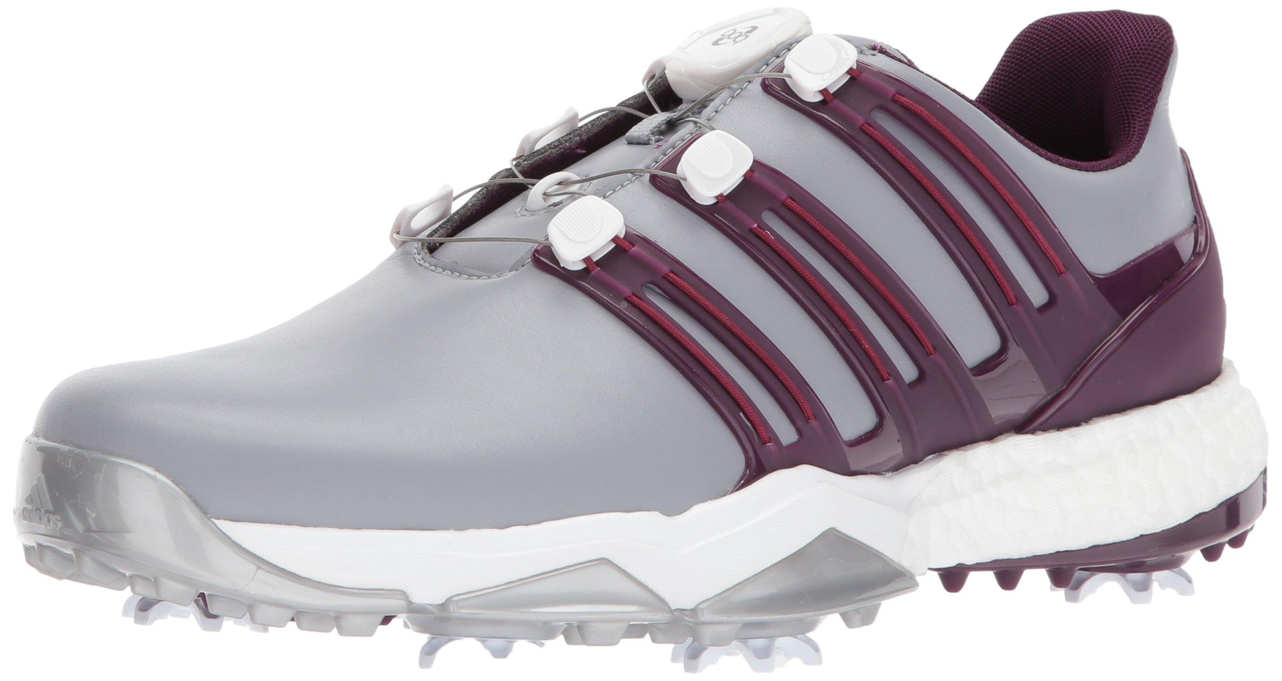 Adidas Powerband BOA Boost Golf Shoe, Mid Grey/Red Night/Mystery Ruby, 15 M US by adidas