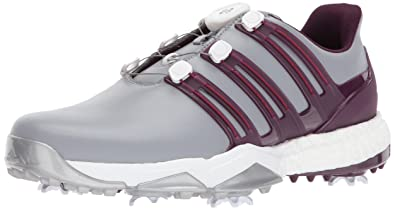 7fb4153b75a11 Adidas Powerband BOA Boost Golf Shoe, Mid Grey/Red Night/Mystery Ruby, 11.5  M US