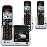 AT&T CRL82312 DECT 6.0 Phone Answering System with Caller ID/Call Waiting, 3 Cordless Handsets, Black/Silver