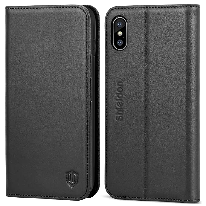 finest selection ea8f1 297ac SHIELDON iPhone Xs Max Case, Genuine Leather iPhone Xs Max Wallet Case Auto  Wake Sleep RFID Blocking Credit Card Slot Flip Magnetic Stand Case ...