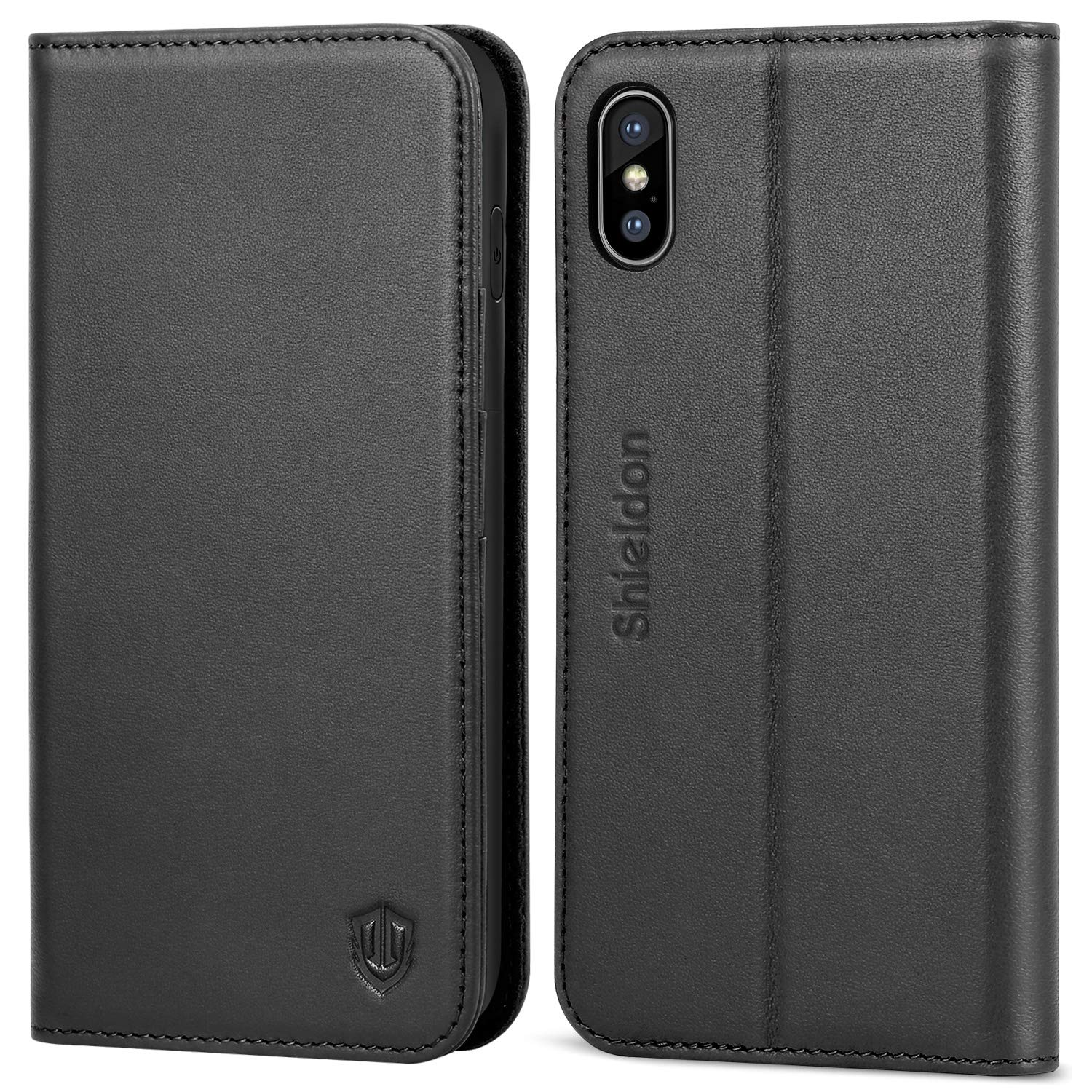 iPhone Xs Max Case, SHIELDON Genuine Leather iPhone Xs Max Wallet Case [Auto Wake/Sleep] [RFID Blocking] Credit Card Slot Flip Magnetic Stand Case Compatible with iPhone Xs Max (6.5'' 2018) - Black