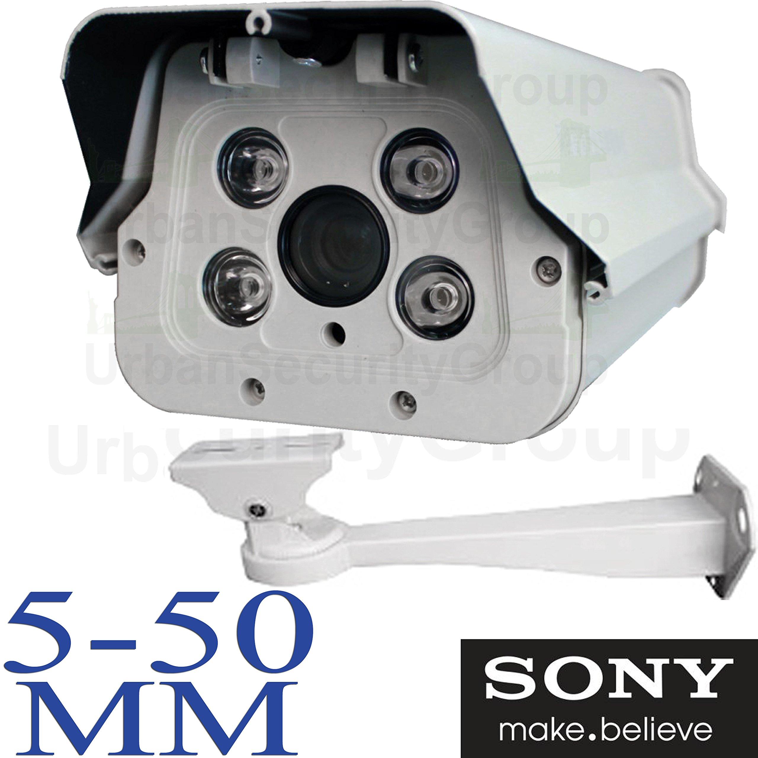 USG IP PoE 2MP 1080P Sony Ambarella Chipset : License Plate Recognition LPR Capture Bullet Security Camera : 5-50mm Vari-Focal HD Lens : 4x Array Infrared LEDs 100ft, ONVIF, Business Grade