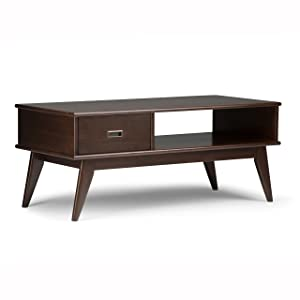 Simpli Home 3AXCDRP-01 Draper Solid Hardwood 48 inch Wide Rectangle Mid Century Modern Coffee Table in Medium Auburn Brown