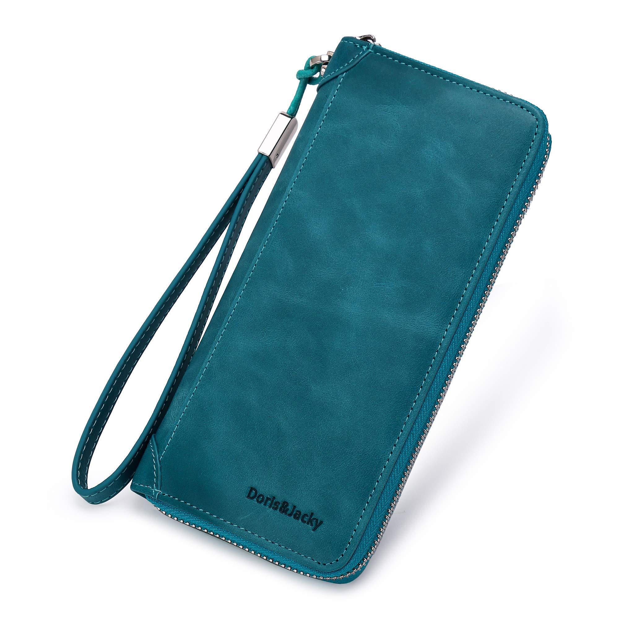 Women Leather Wallet Rfid Blocking Large Capacity Zipper Around Travel Wristlet Bags (Lake Blue) by Doris&Jacky