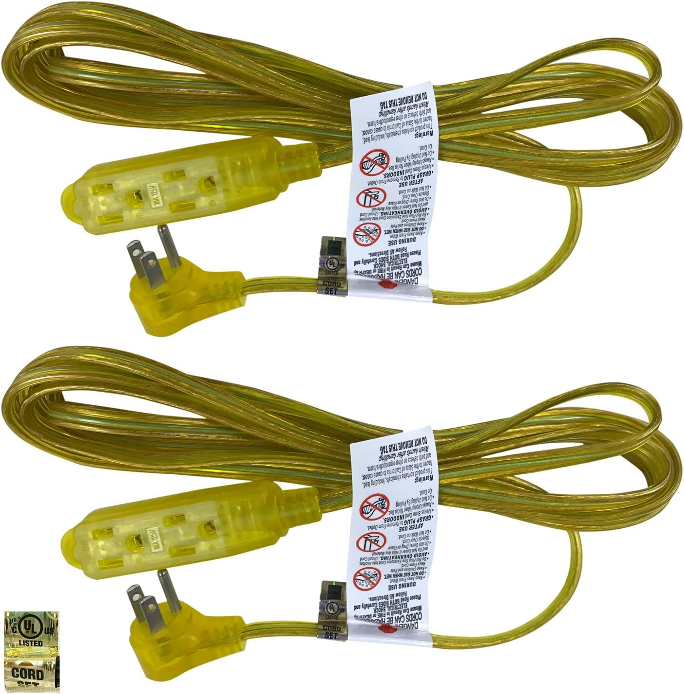 Royal Designs CO-9001-GL-6-2 Series Flat Plug Extension Cord for Indoor & Outdoor, 6 ft long, Gold, 3 Outlet Prong Grounded Wire UL Listed, Set of 2, 6'