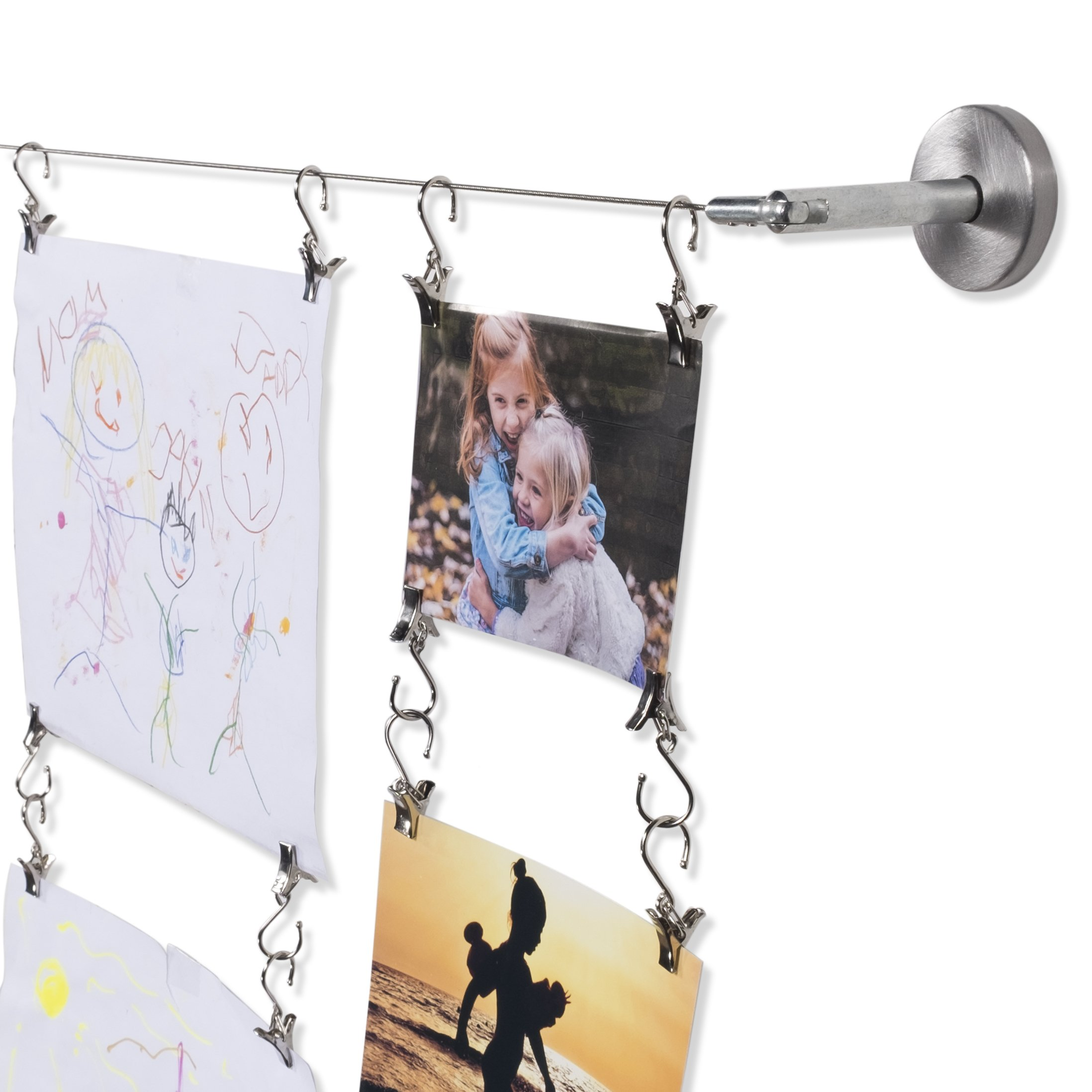 Fasthomegoods Wall Mount Children's Art Projects Display Stainless Steel Wire Rod with 48 Hanging Clips 16.5 Feet Long