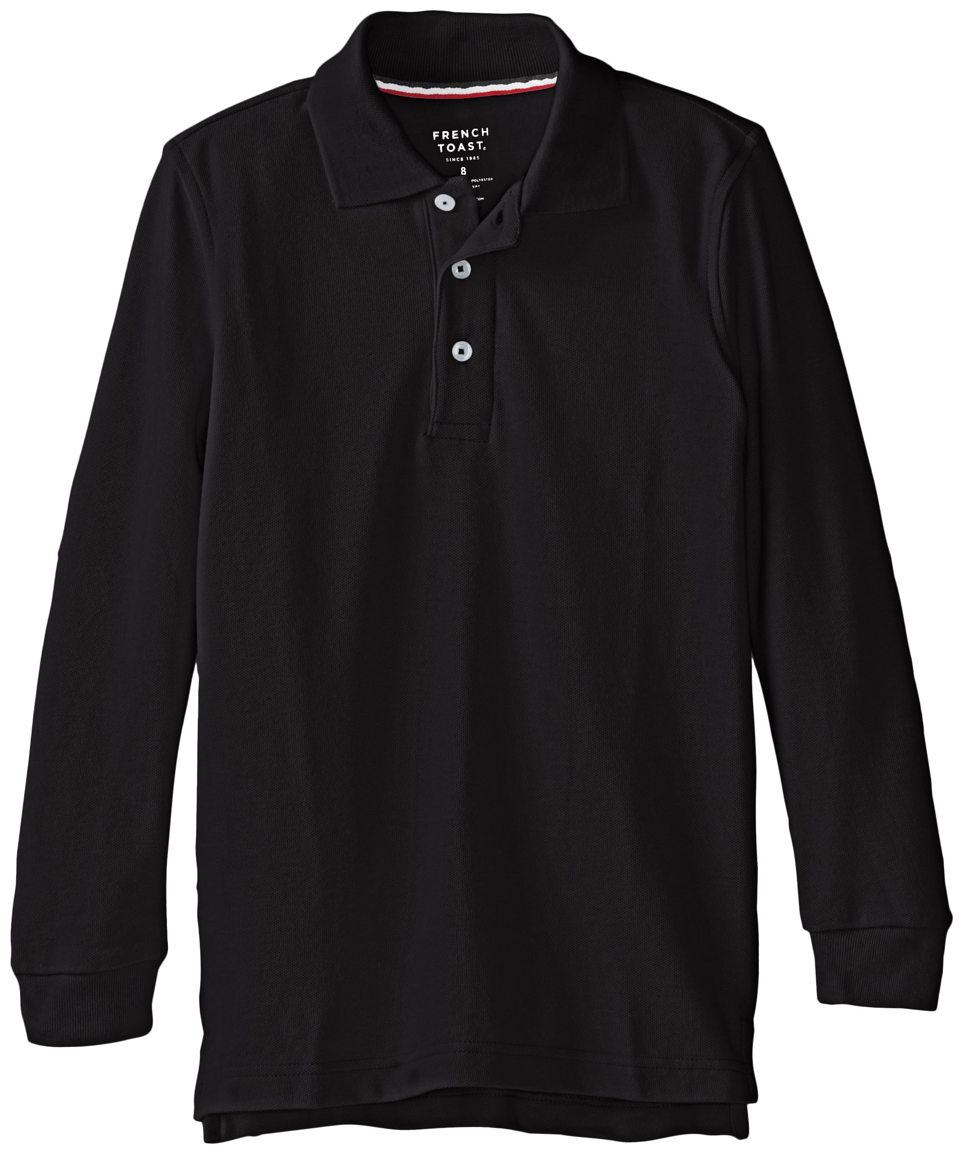 French Toast Big Boys' Long Sleeve Pique Polo, Black, 12
