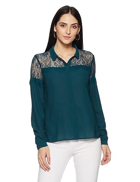 Vero Moda VMHELENA L/S Lace Shirt, Blusa Mujer, Azul (Reflecting Pond), 40 (Talla del Fabricante: Large): Amazon.es: Ropa y accesorios