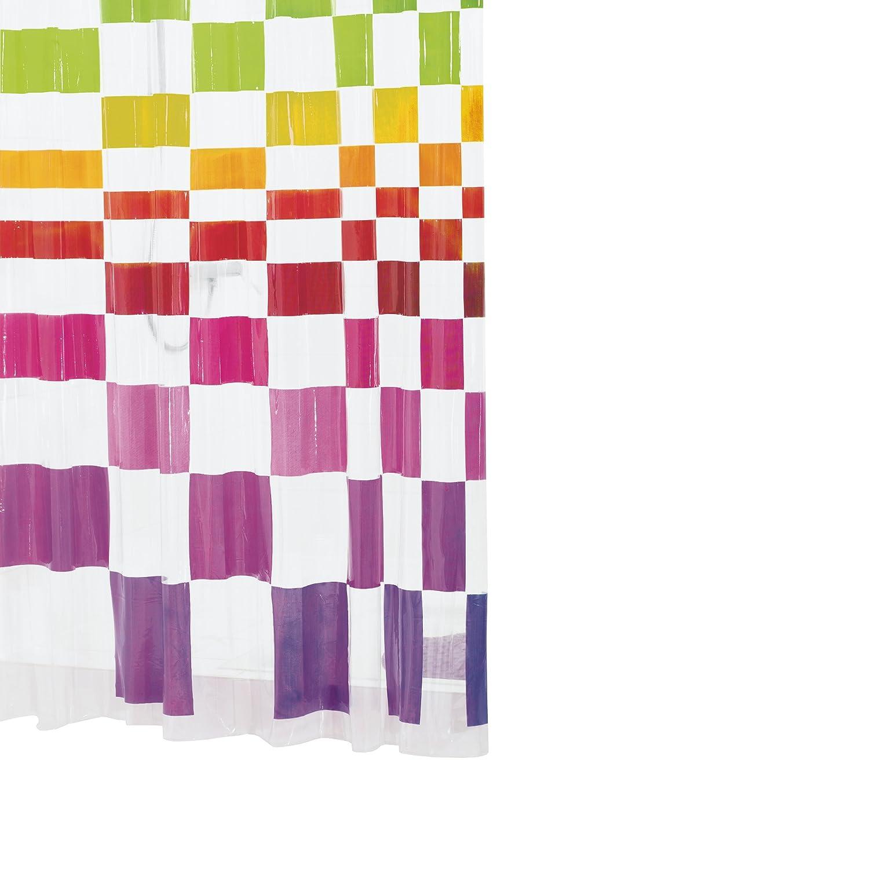 RIDDER 358200-350 Duschvorhang Folie ca. 180 x 200 cm, Matrix inklusive Ringe