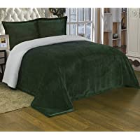 Chezmoi Collection Micromink Sherpa Reversible Throw Blanket (Queen, Hunter Green)