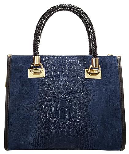 Handtasche ECHT LEDER blau Damen Mittel - 017787 Cluty RFSb8td6