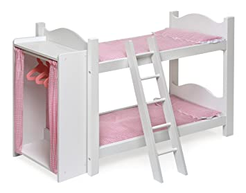 Etagenbett Puppen : Puppen etagenbett mit treppen und kissen auf weißem hintergrund