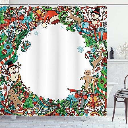 ABAKUHAUS Navidad Cortina de Baño, Símbolos De Vacaciones, Tela ...