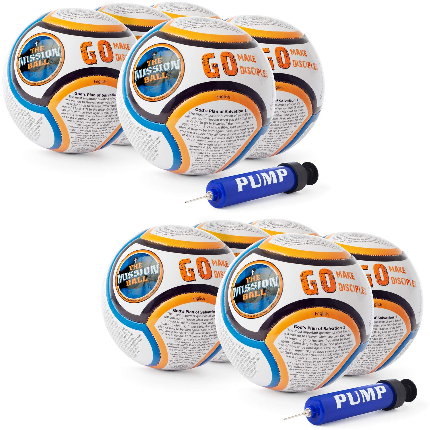 The Mission Ball (English Soccer Ball - Biblical Gospel Sharing Tool Using The World's Most Popular Sport to Explain Christ - Perfect for Mission Trips, Shoeboxes, VBS, and Gifts (10 Pack)