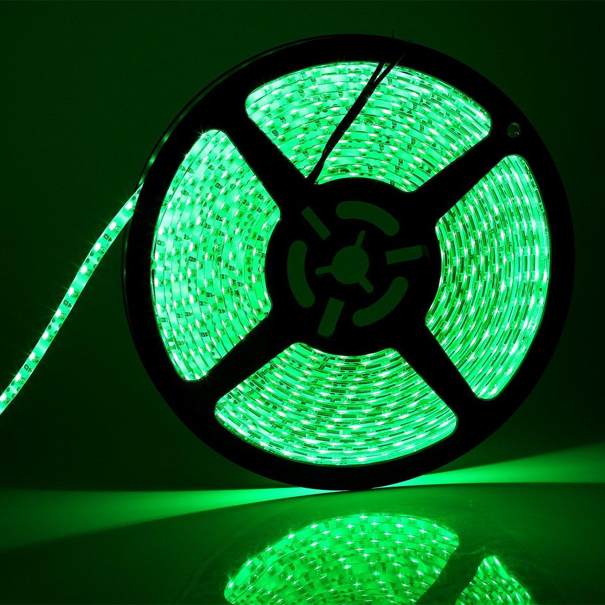 SUPERNIGHT High Density Green Waterproof Led Light Strip, SMD 3528, 5 Meter or 16 Ft LED Strip 120 Leds/M by SUPERNIGHT (Image #1)