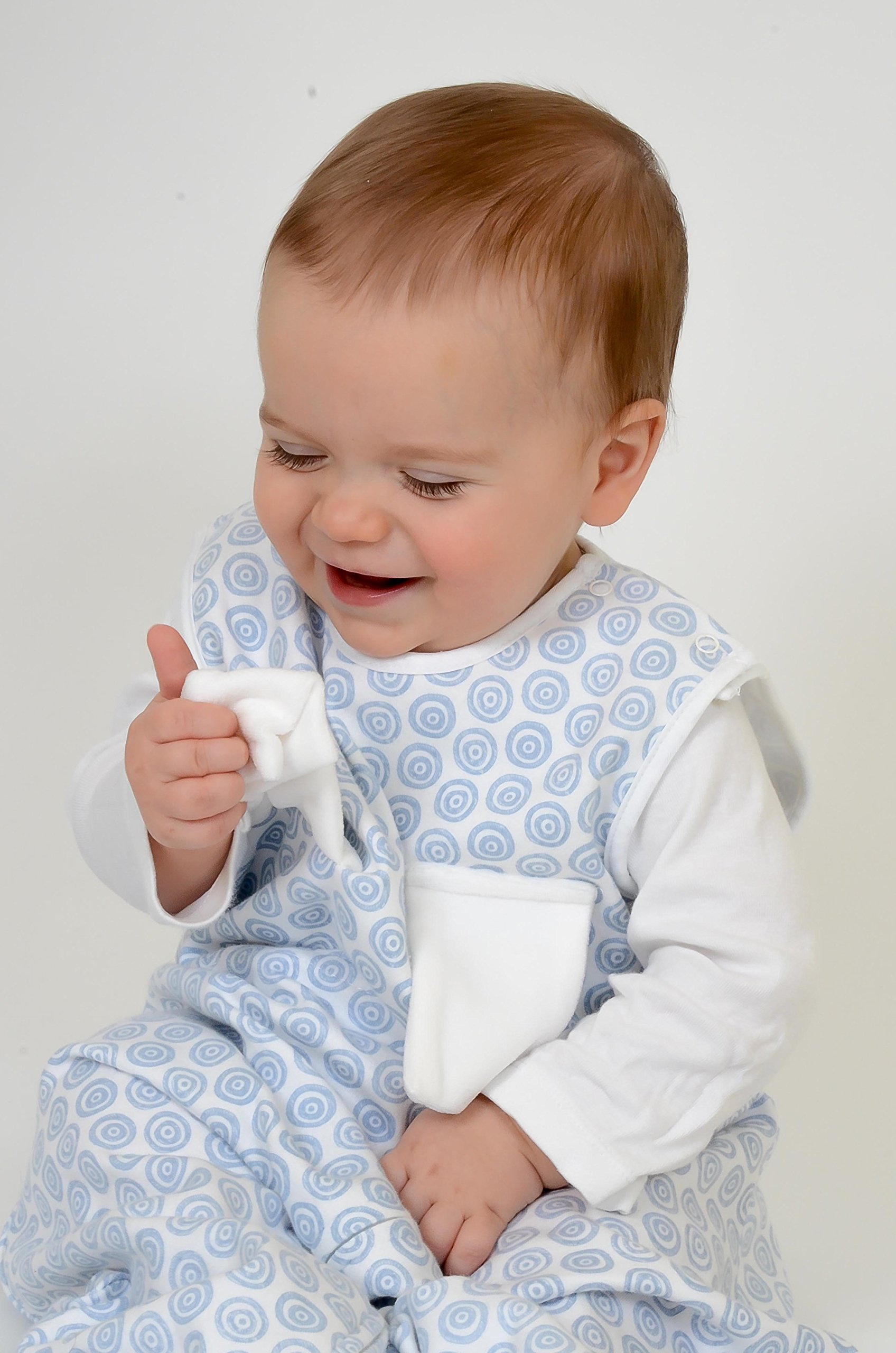 Bitta Kidda Baby Soother Sleeping Bag Wearable Blanket + Lovey - Blue Circles 3M