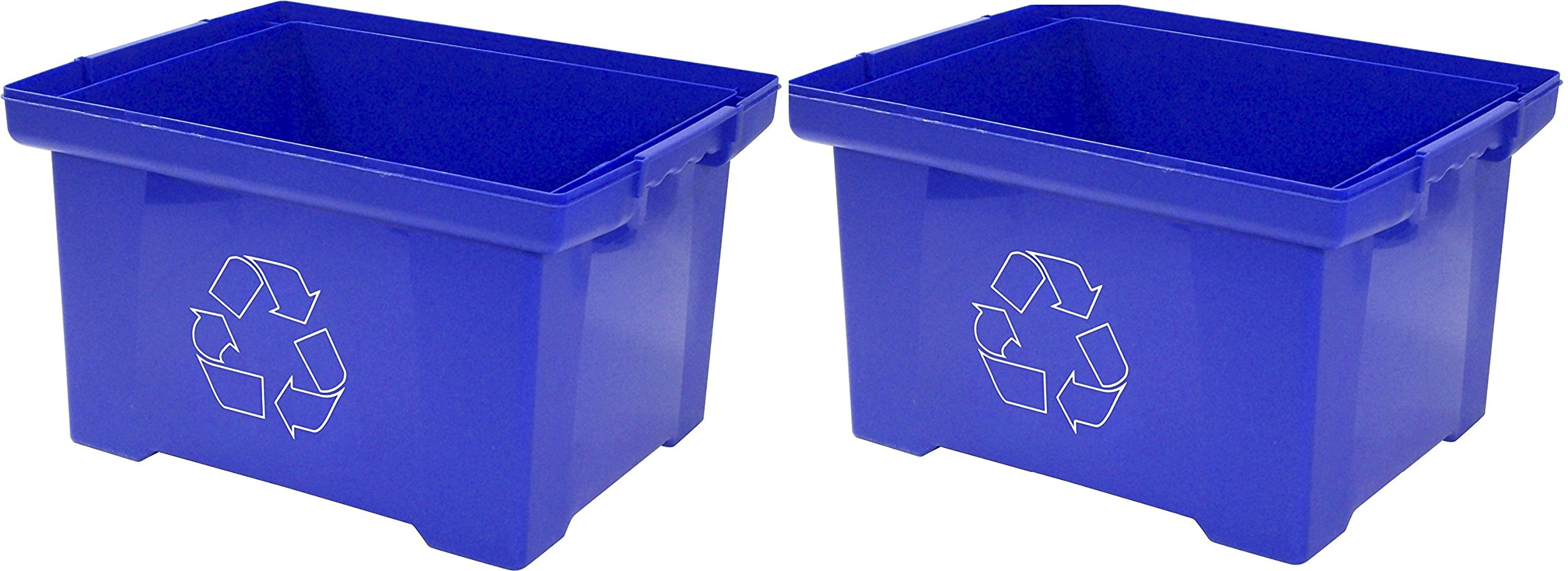 Storex 9 Gallon Recycle Bin, Blue (Pack of 2)