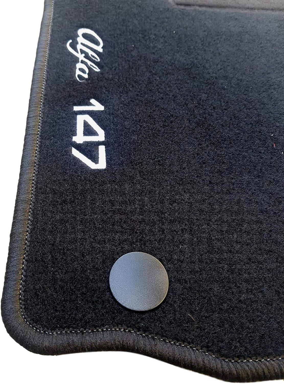AV tappetini Auto per Alfa 147 su Misura in Moquette Set 4 tappeti con Logo e Kit di Fissaggio Antiscivolo