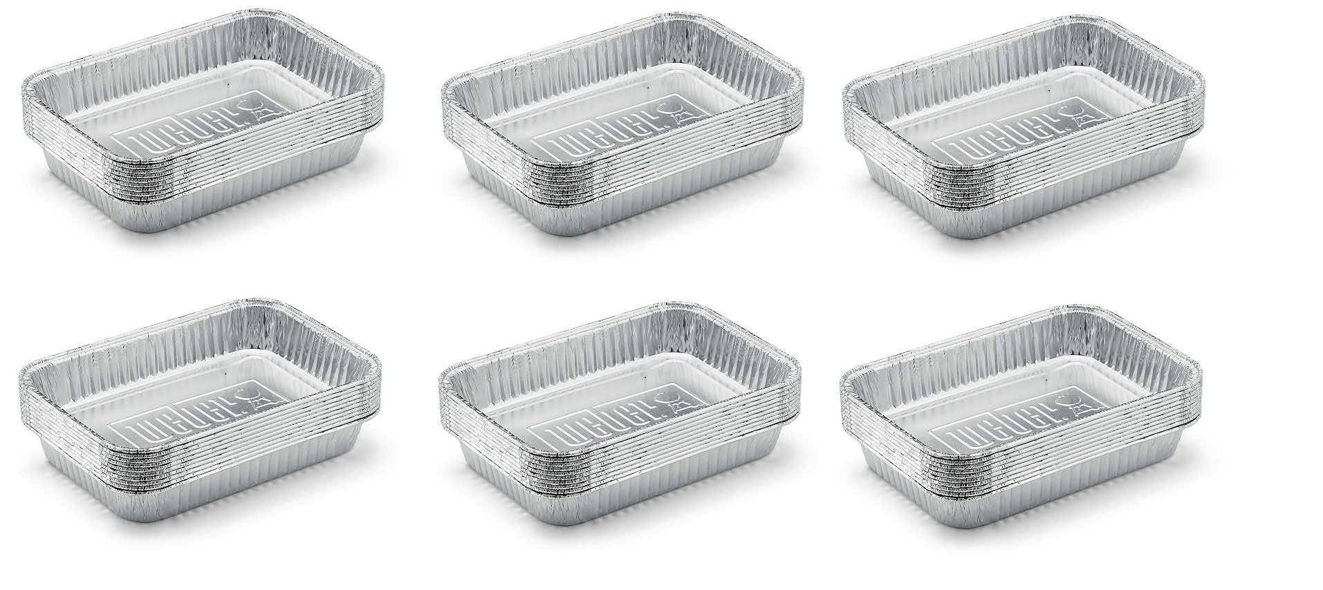 Weber 6415 Small 7-1/2-Inch-by-5-inch Aluminum Drip Pans, Set of 10 (6-Sets of 10)