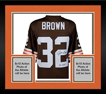 101a11ca Framed Jim Brown Cleveland Browns Autographed Mitchell & Ness Replica Jersey  with