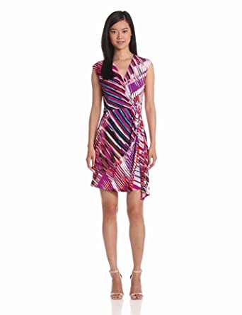 maxandcleo Women's Faux Wrap Printed Dress, Orchid, Small