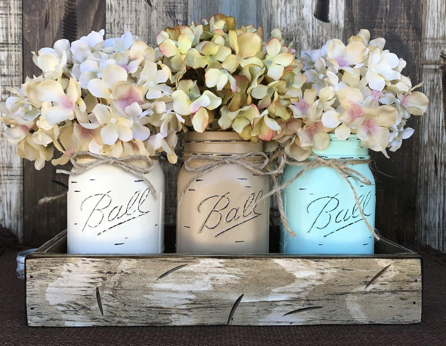 Mason Canning JARS U0026 Wood ANTIQUE WHITE Tray Spring Centerpiece With 3 Ball  Pint Jar  Kitchen Table Decor Distressed Rustic (Flowers Optional)  CREAM,  ...