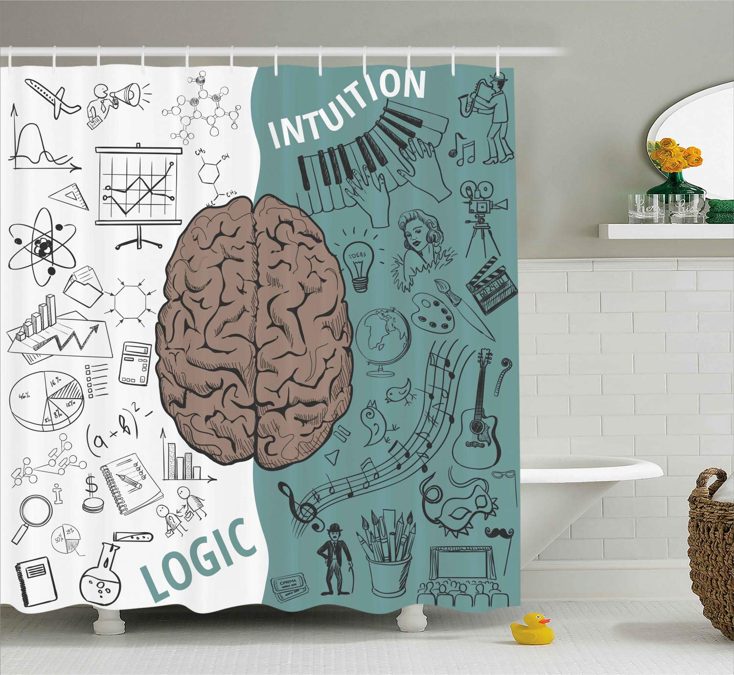 Ambesonne Modern Decor Shower Curtain, Brain Image with Left and Right Side Music Logic Art Side Science Print, Fabric Bathroom Decor Set with Hooks, 75 Inches Long, White Teal Umber