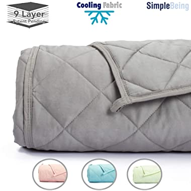 Simple Being Weighted Blanket 3.0, 48x72 15lb, Patent Pending 9 Layers Design, Best Adult Heavy Calming Blanket, Cooling Cotton Glass Beads, High Degrees of Breathability, Stone Grey