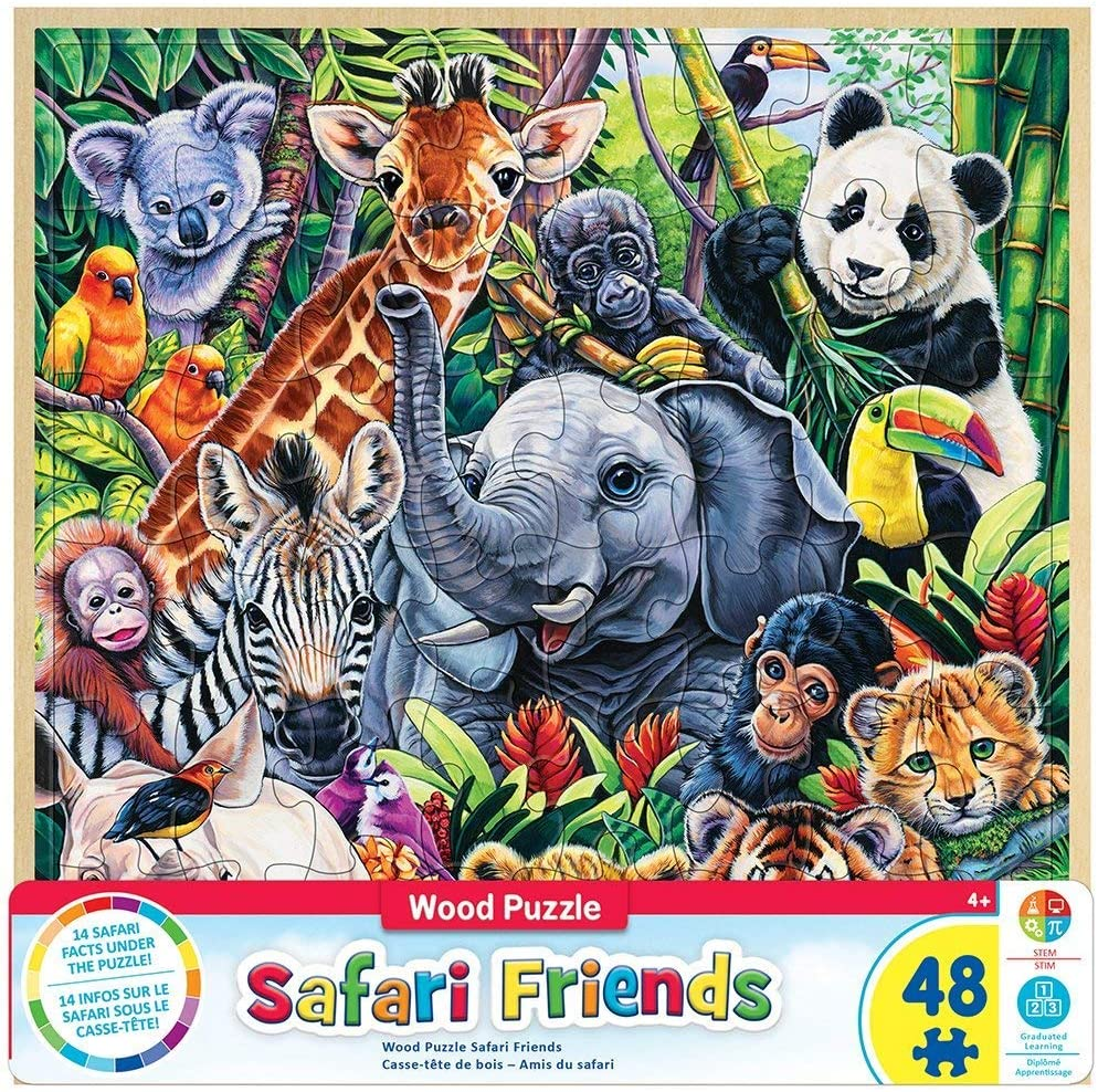 MasterPieces Real Wood Tray Jigsaw Puzzle Safari Friends, STEM Product, 48 Pieces, For Ages 4+