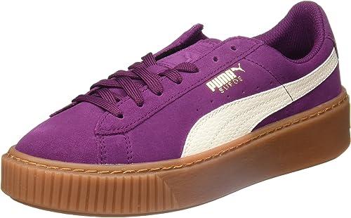 Baskets femme Chaussures Puma Noir Suede Satin Noir Platform