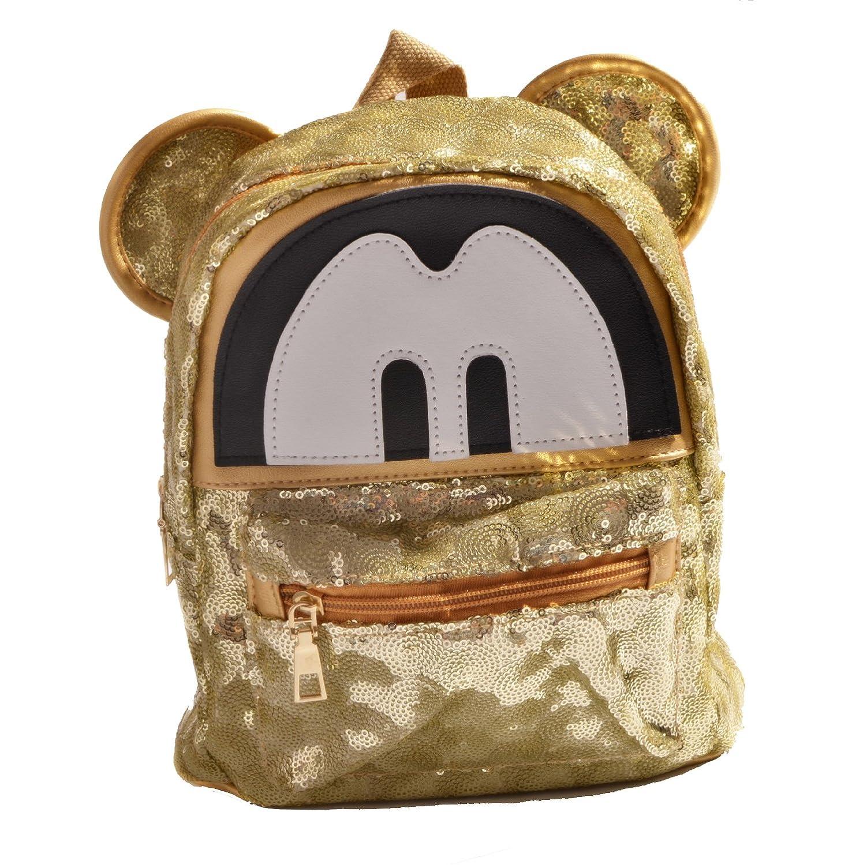 yournelo Woman 's Mini MickeyマウススパンコールPUバックパックブックバッグリュックサック女の子用 B01NBC0TOJ ゴールド