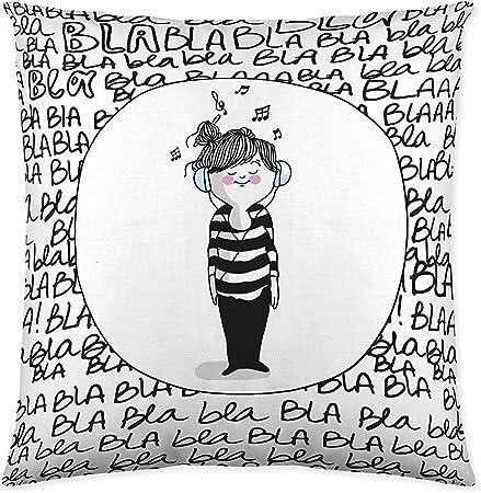 La Volátil Bla Funda de cojín, algodón, Blanco, Negro, Sin Relleno: Amazon.es: Hogar