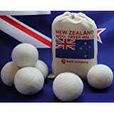 Wool Dryer Balls from Organic New Zealand Wool – Pack of 6 Anti Static, Fabric Softener, Reusable Large Felt Wool Clothes Dryer Balls – Made from AniD Company - Reduces Drying Time and Whips Fluff