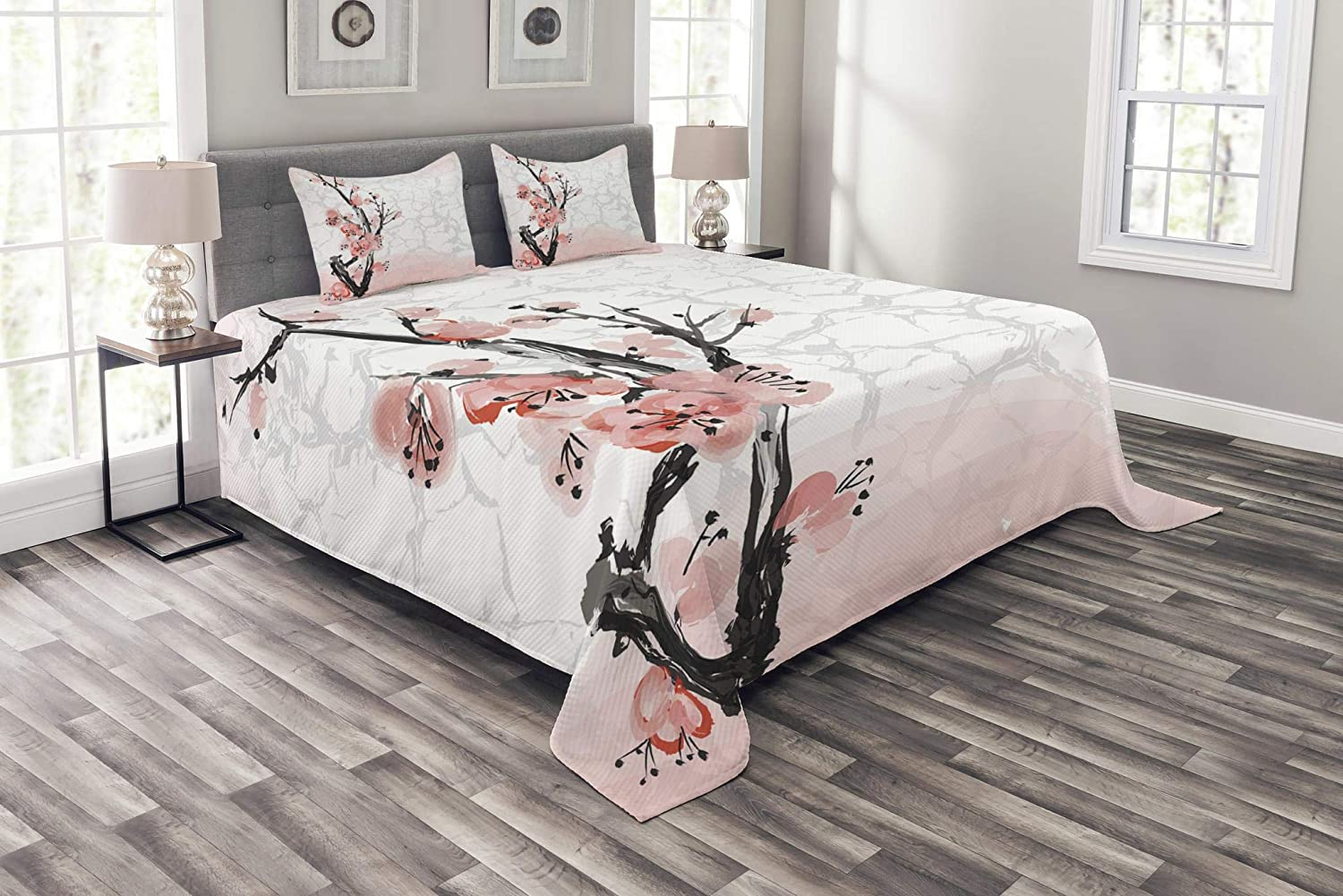 Lunarable Floral Bedspread, Japanese Cherry Blossom Sakura Tree Branch Soft Pastel Watercolor Print, Decorative Quilted 3 Piece Coverlet Set with 2 Pillow Shams, Queen Size, Pink Coral