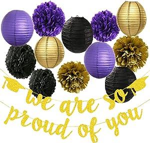 Graduation Decorations 2021 Purple Gold Black/We are Proud of You Banner,Graduation Party Supplies 2021
