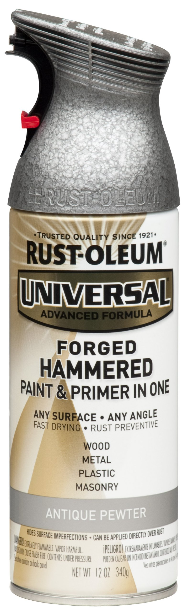 Rust-Oleum 271481 Universal Forged Hammered Spray Paint, 12 oz, Antique Pewter