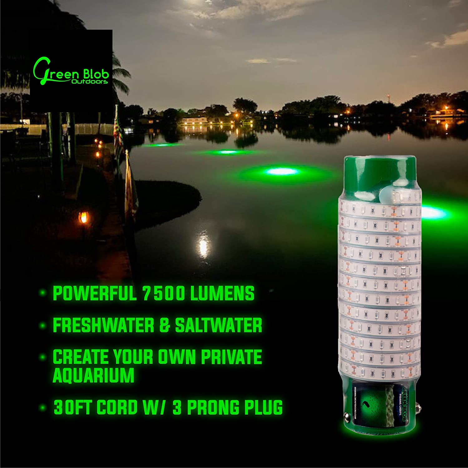 "NIGHT FISHING LIGHTS SUBMERSIBLE  2 ft 24/""  GREEN FISH LIGHT"