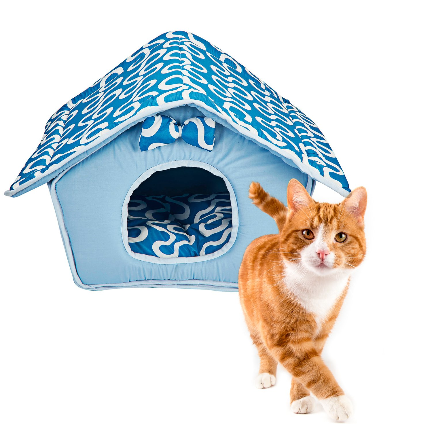 Deluxe Memory Foam Indoor House for Cats and Dogs and Cats (Blue) Animals Favorite