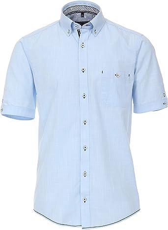 CASAMODA - Camisa de Manga Corta para Hombre, Color Azul Claro, Estructura de Lino, Ajuste Casual, Talla M hasta 6XL.: Amazon.es: Ropa y accesorios