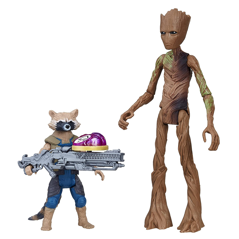 Avengers E2070el2War Rocket Raccoon et Groot avec Pierre Infini Figure Hasbro