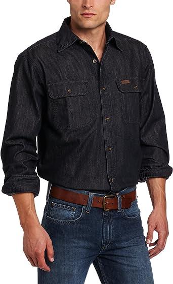 Carhartt Camisa de Trabajo de Manga Larga con Botones Frontales, de Jean Lavado Grande y Alto, para Hombre: Amazon.es: Ropa y accesorios