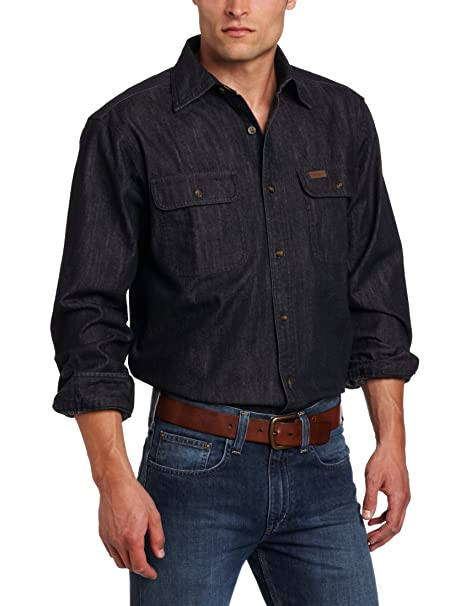 5f6a84a5ad1 Carhartt Men s Big   Tall Washed Denim Long-Sleeve Button-Front Original  Fit Work Shirt at Amazon Men s Clothing store  Button Down Shirts