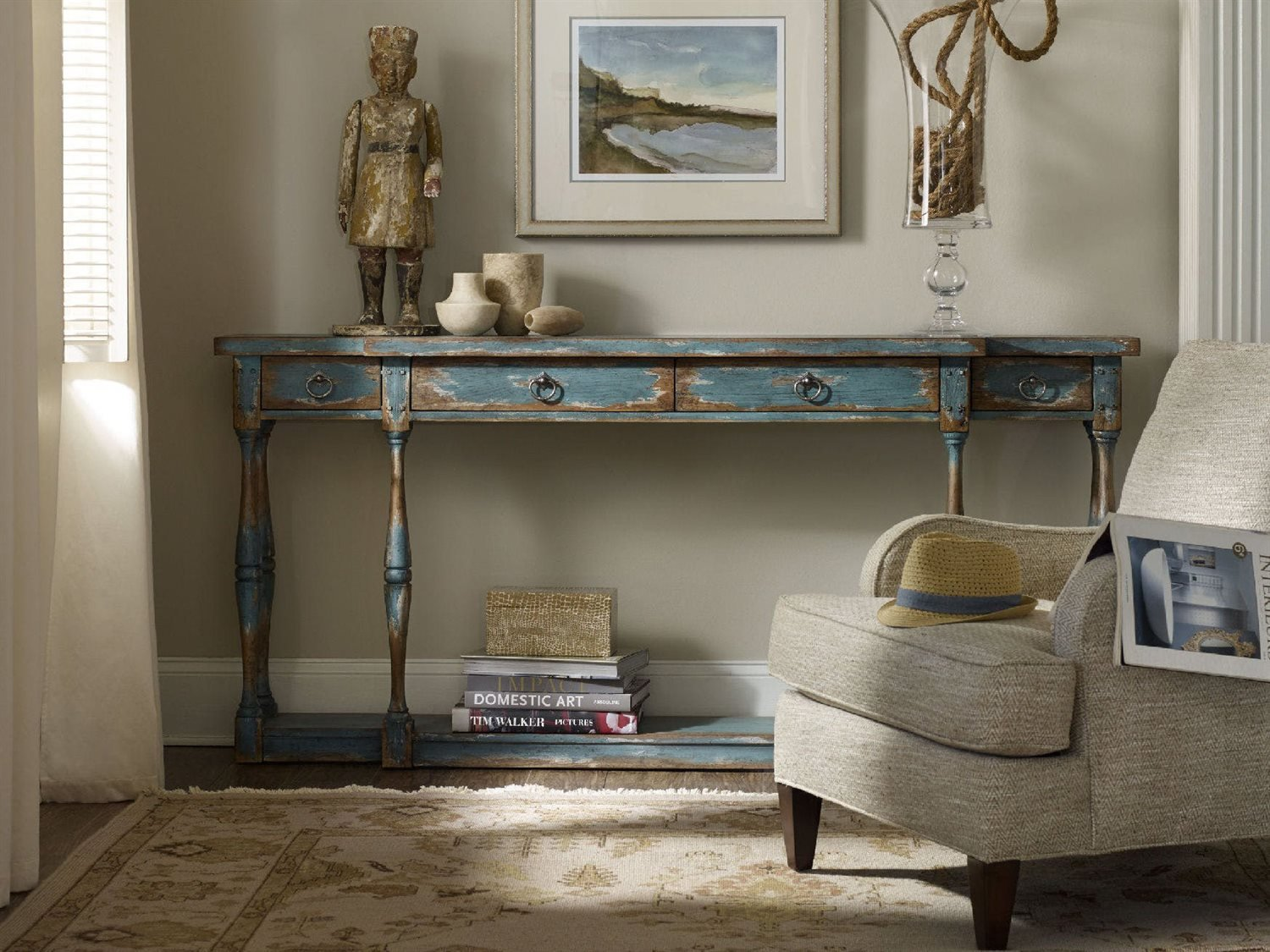Magnificent Hooker Furniture Sanctuary 4 Drawer Thin Console Table In Azure Blue Home Interior And Landscaping Mentranervesignezvosmurscom