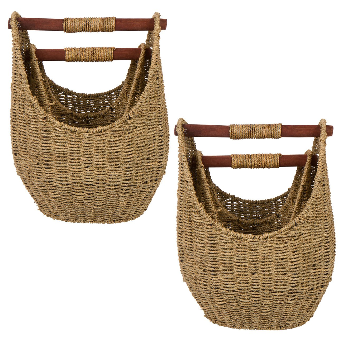 Trademark Innovations 15.7'' & 12.5'' Seagrass Baskets with Wooden Handles - Set of 4