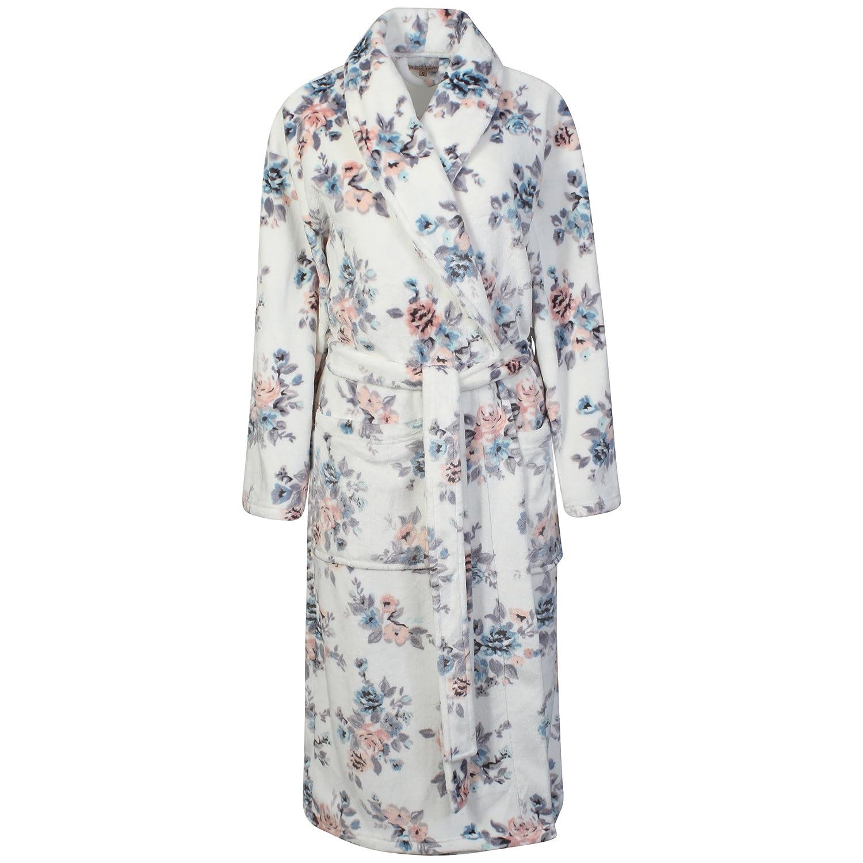 Ladies Supersoft Floral Fleece Long Robe. White / Multi. Sizes S M L